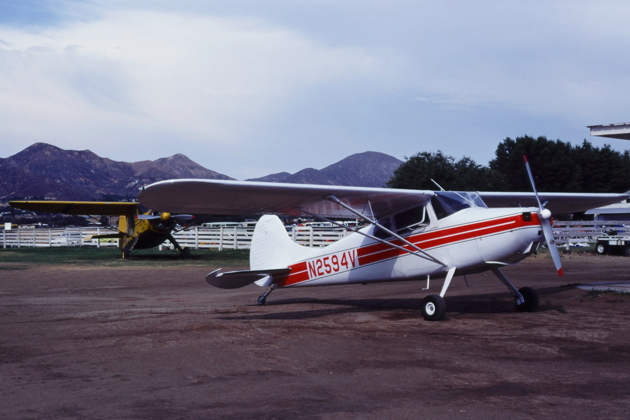 Greg Trebon's classic Cessna 170, N2594V, just after we landed at Elsinore, CA on 16 July 1977.