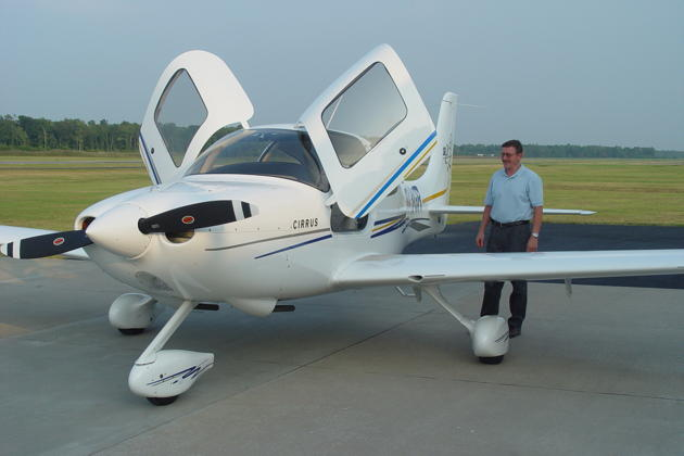 Gil Rud and his Cirrus SR-20G2 at the Cambridge-Dorchester airport, MD.