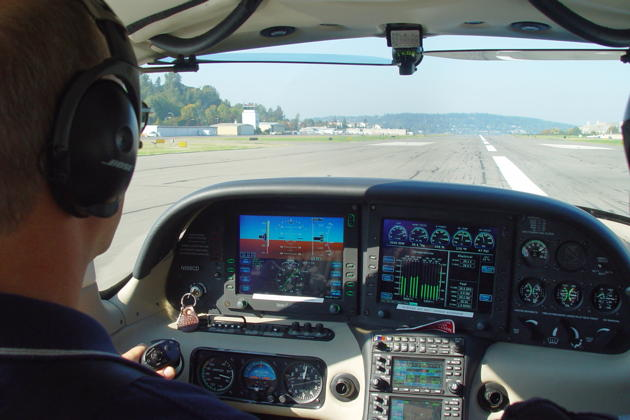 On takeoff roll at Renton in the Cirrus SR-22G2. Photo by Mark LaVille.