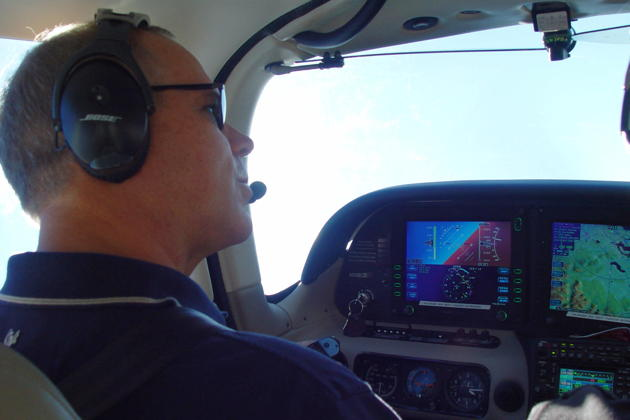 Trying out a steep turn in the Cirrus. Photo by Mark LaVille.