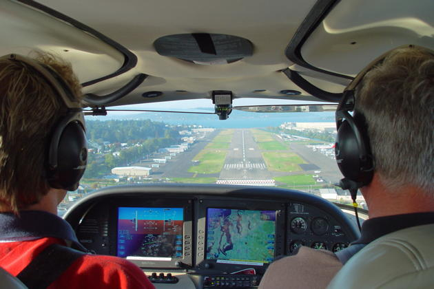 Mark on final to the Renton airport in the SR-22.