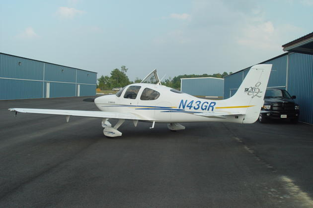 Gil Rud's Cirrus SR-20G2 at St. Mary's County airport, Leonardtown, MD.