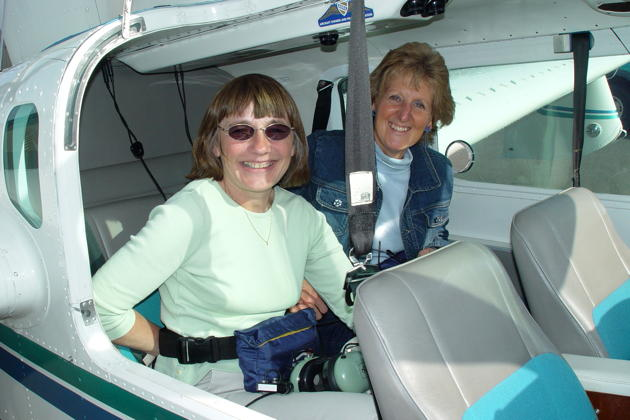 Mary and Ann Happe ready to fly in the Lake 250.