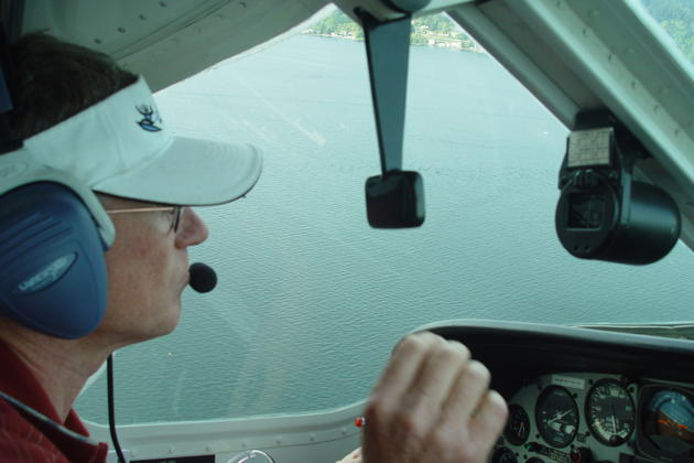 On the base leg for touch and go's on the waters of Lake Sammamish, WA in the Lake 250.