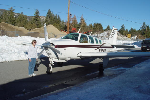Mary and the A36 Bonanza, preparing to leave Big Bear.