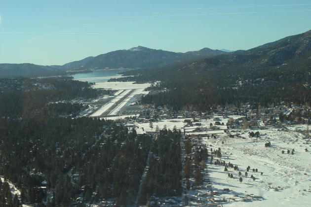 Big Bear City airport on departure, nestled in the mountains.