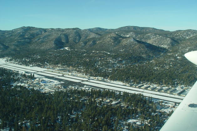 A view of Big Bear City airport on departure back to Orange County airport.