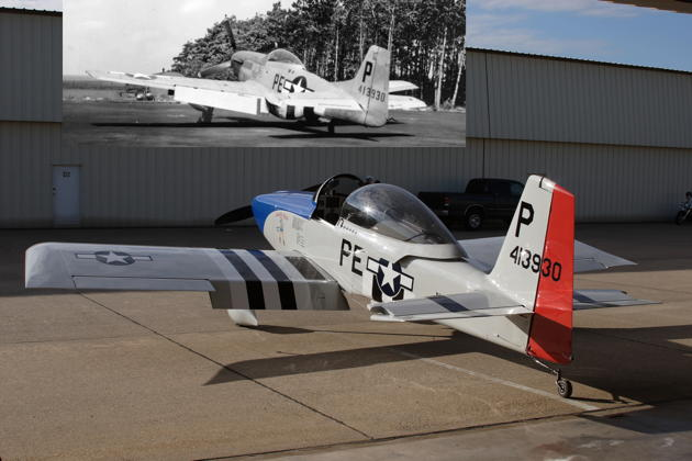 Greg Trebon's beautiful RV-8, and P-51D 44-13930, the original aircraft that the RV-8's paint scheme is honoring. P-51D photo courtesy the 352nd Fighter Group via Marc Hamel.