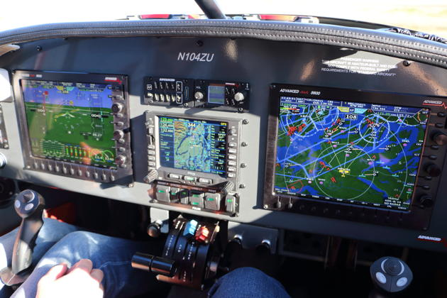 The impressive cockpit displays, stick and throttle configuration in Jim Ruttler's RV-10.