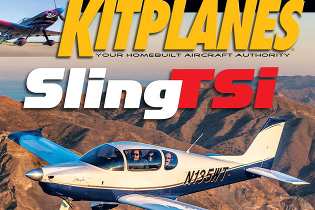 Wayne Toddun's Sling TSi, N135WT, on the cover of the April 2019 Kitplanes issue.