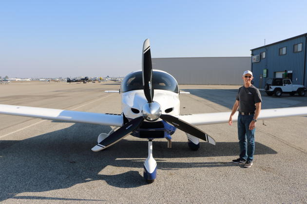 Barry Jay conducting a walk around before our flight in the Sling TSi at Torrance.