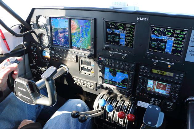 The impressive cockpit suite in George Johnson's Apache, featuring a Garmin G600 suite, plus Garmin 530/430 systems.