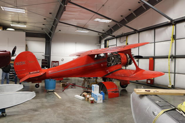 Bill Sleeper's Beech D17S Staggerwing N25K, undergoing maintenance at Port Townsend.