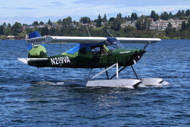 Ranger N219VR conducting first water taxi tests on Lake Washington prior to first flight on 10 June 2019.