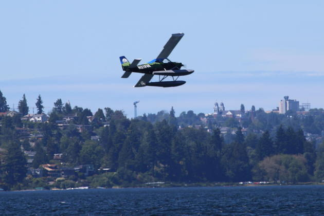 First flight of the Vashon Ranger on floats, piloted by Tyler Pattison over Lake Washington on 10 June 2019.
