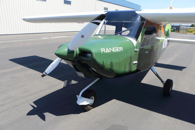 The Catto propeller and castering nosewheel of the Ranger.