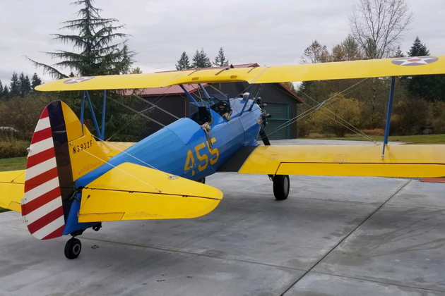 Doug Clough's beautiful Stearman after he returned to Kapowsin Field due to IFR weather near Auburn.