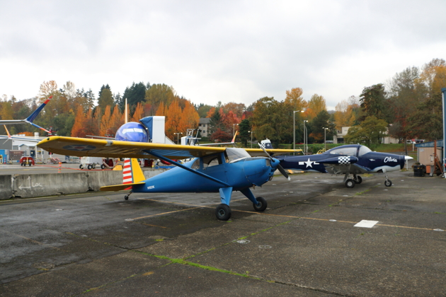 Ryan Georgi's Luscombe 8E and Tanner Matheny's Navion read to launch from Renton.