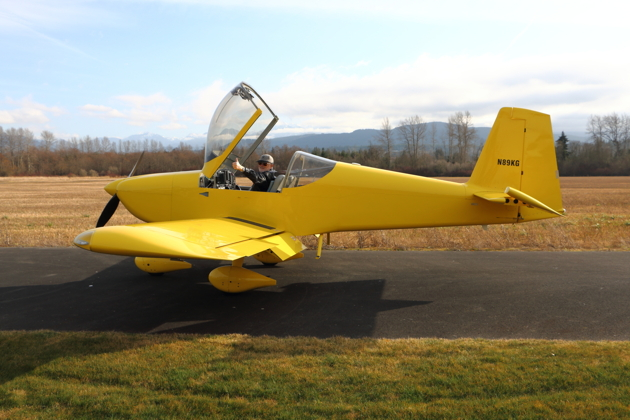 A thumbs up from Dave Miller in his RV-14A at Sequim Valley (W28).