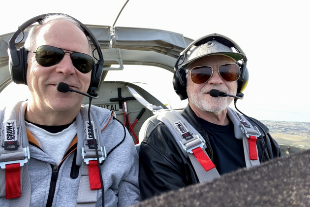 Enjoying the headroom with Dave Miller in his RV-14A.