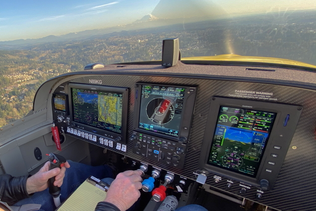 Cruising to the white water tower for landing at Renton in the RV-14A.